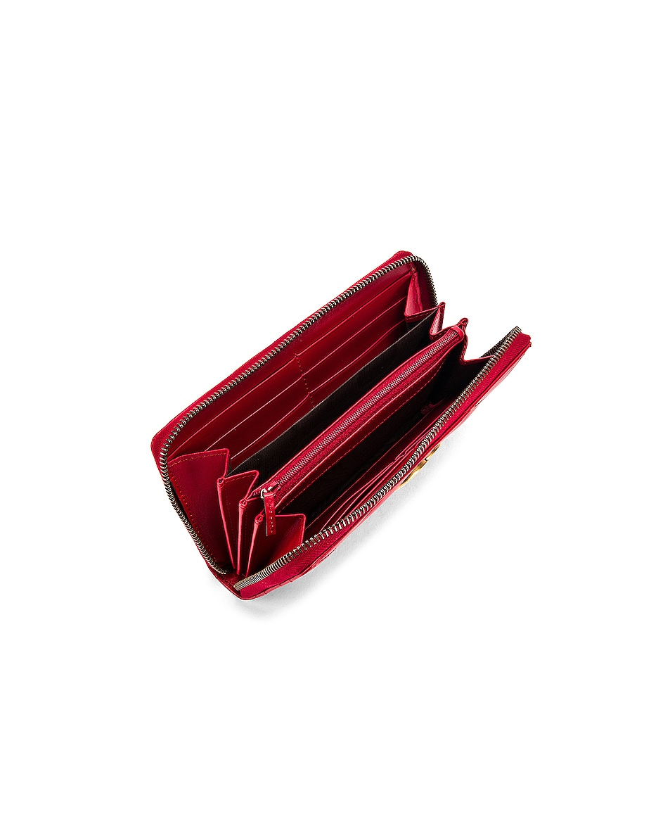 Image 4 of Gucci Leather Zip Around Wallet in Hibiscus Red
