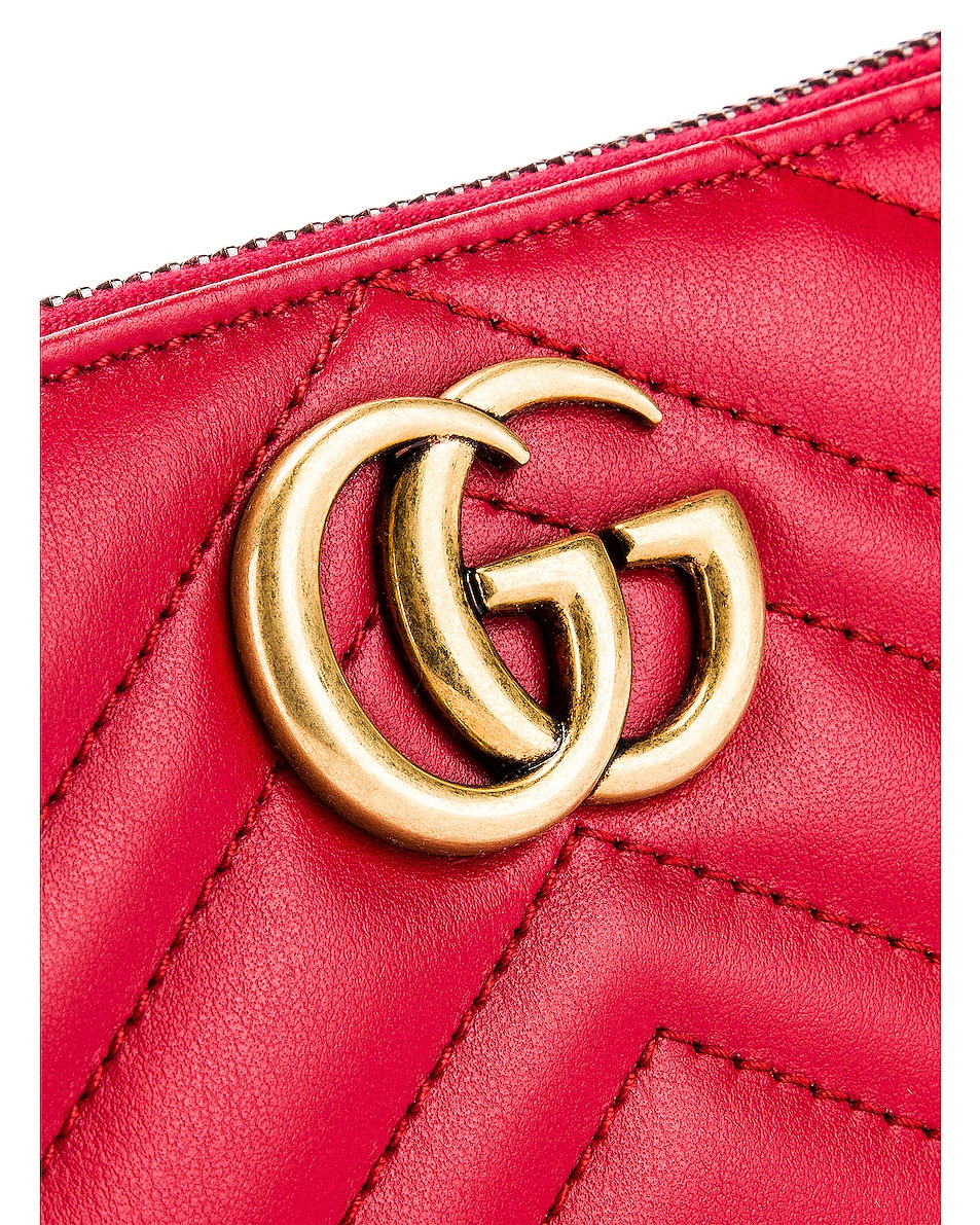 Image 6 of Gucci Leather Zip Around Wallet in Hibiscus Red