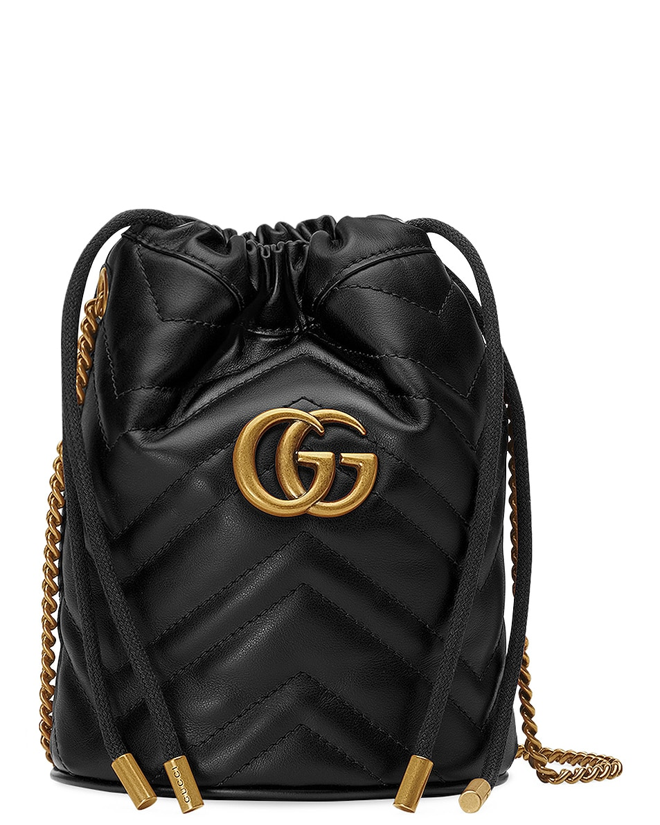 Image 1 of Gucci Leather Chain Bucket Bag in Black