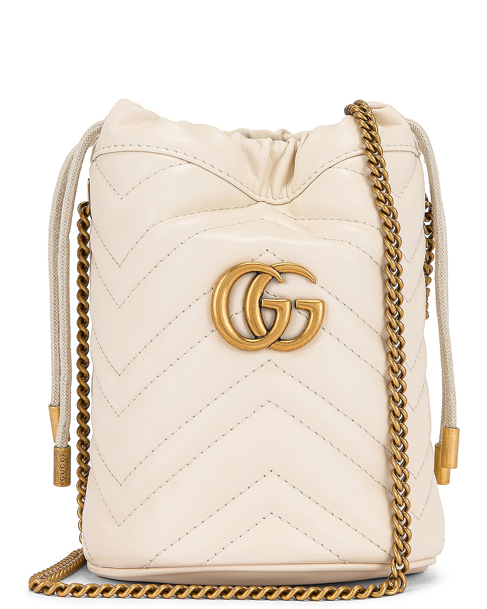 Image 1 of Gucci Leather Chain Bucket Bag in Mystic White