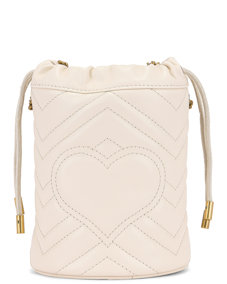 Image 3 of Gucci Leather Chain Bucket Bag in Mystic White