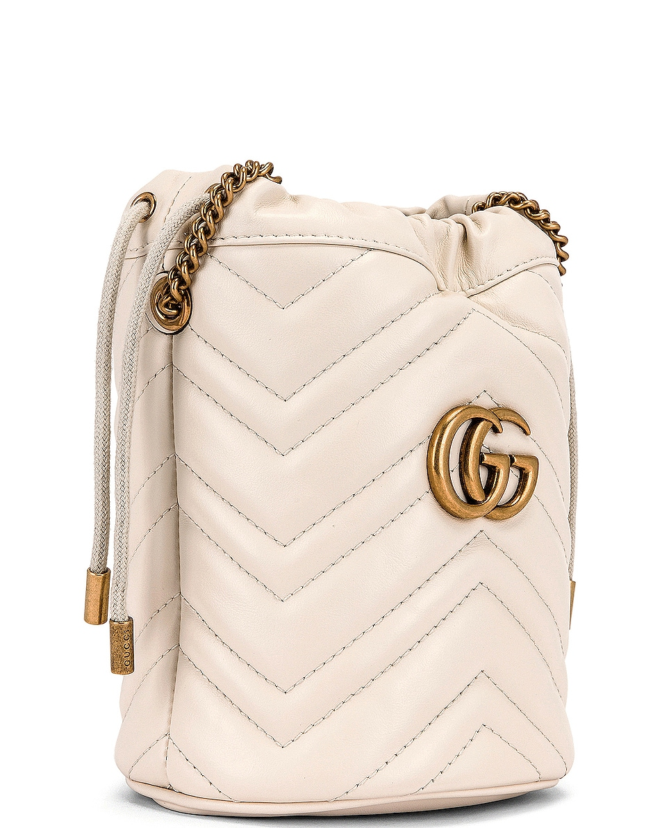 Image 4 of Gucci Leather Chain Bucket Bag in Mystic White