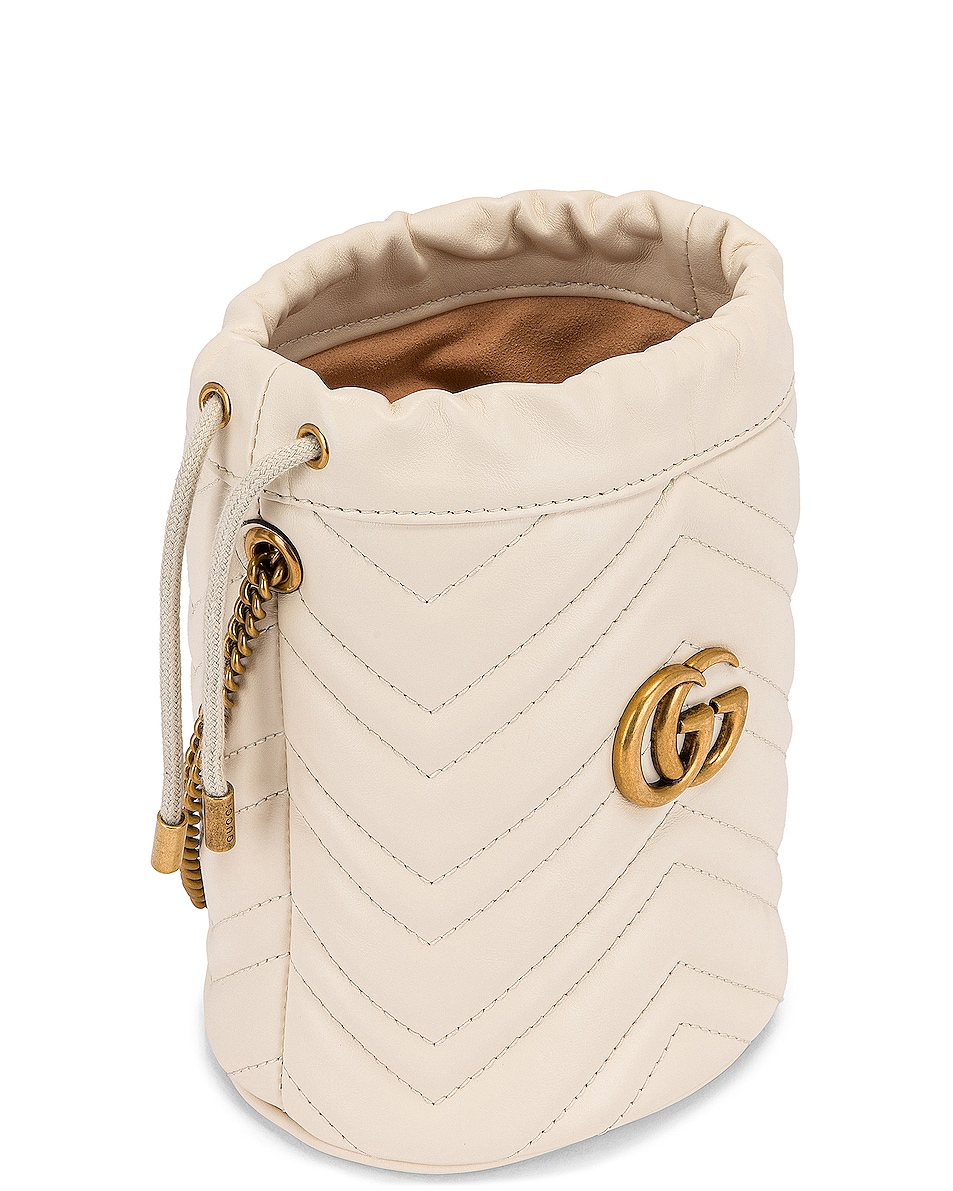 Image 5 of Gucci Leather Chain Bucket Bag in Mystic White