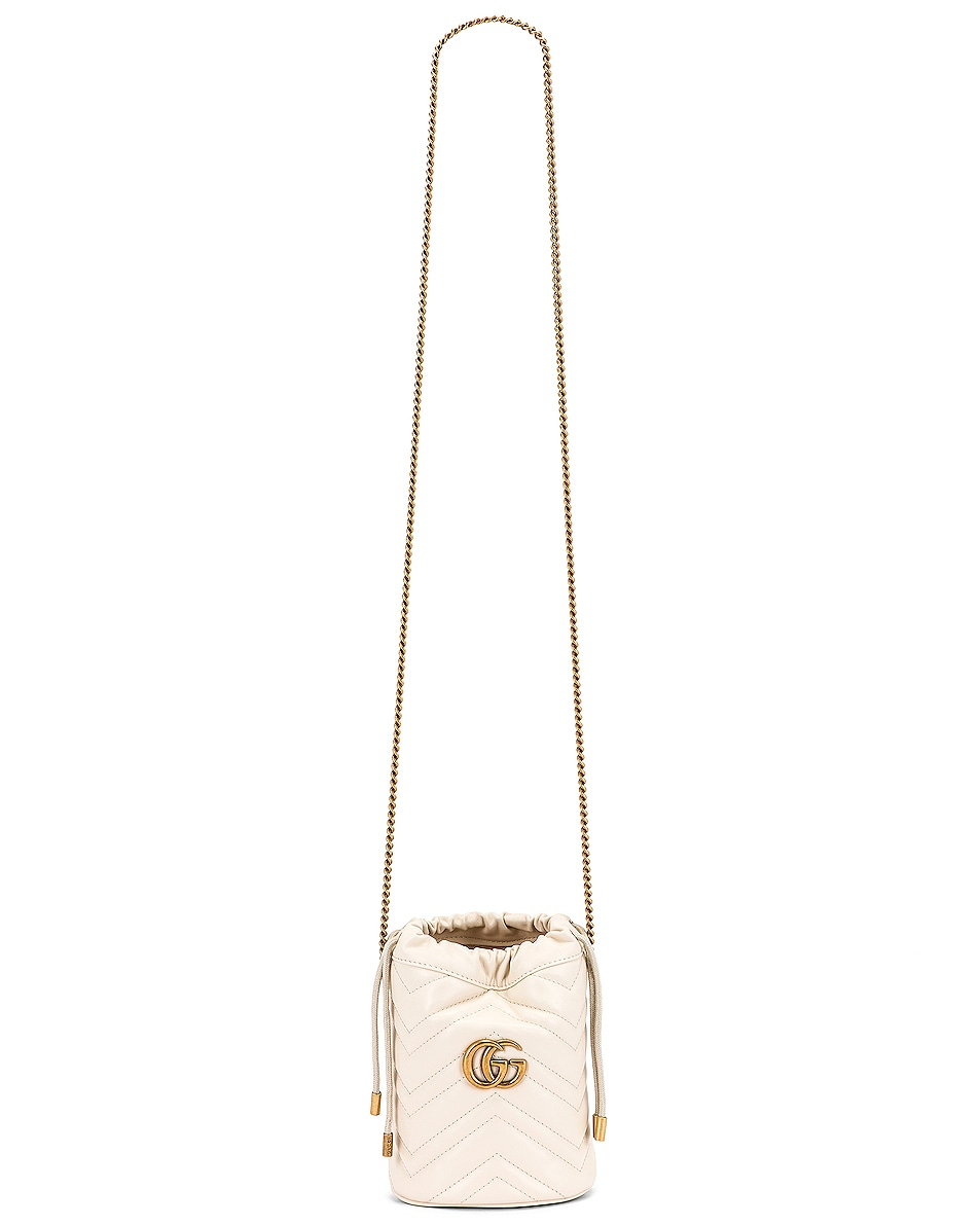 Image 6 of Gucci Leather Chain Bucket Bag in Mystic White