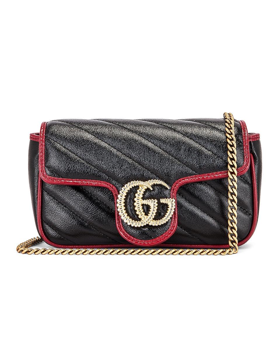 Image 1 of Gucci GG Marmont Torchon Chain Shoulder Bag in Black & Romantic Ceris
