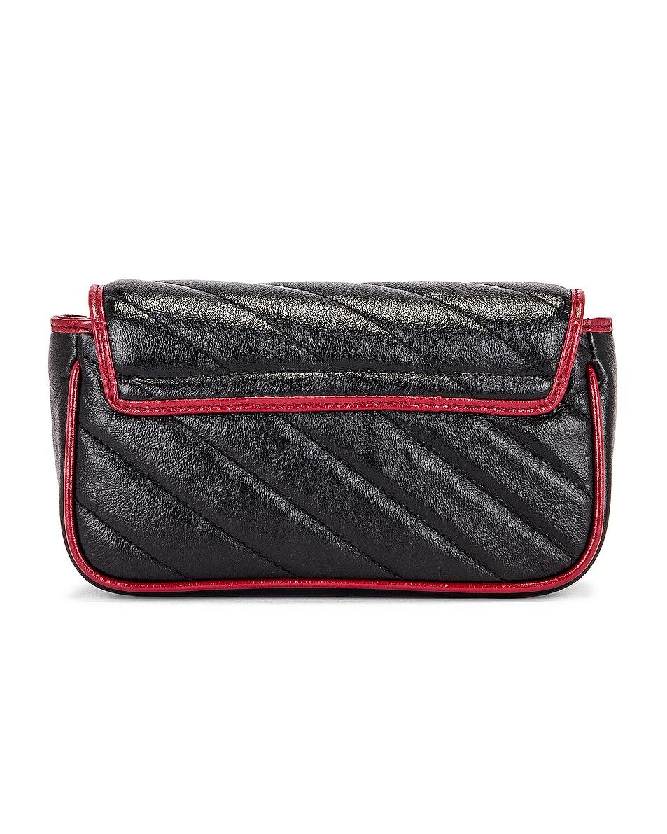 Image 3 of Gucci GG Marmont Torchon Chain Shoulder Bag in Black & Romantic Ceris