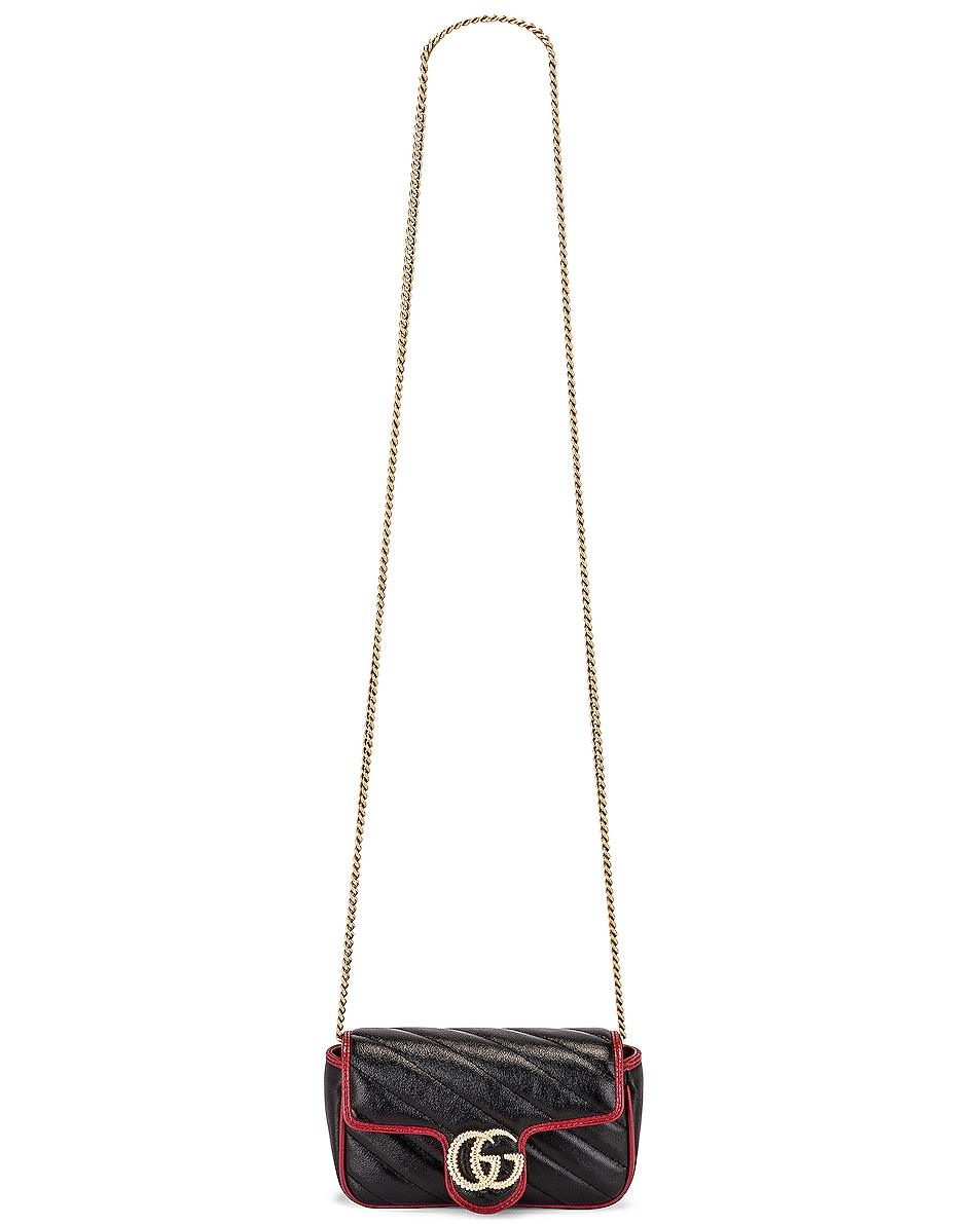 Image 6 of Gucci GG Marmont Torchon Chain Shoulder Bag in Black & Romantic Ceris