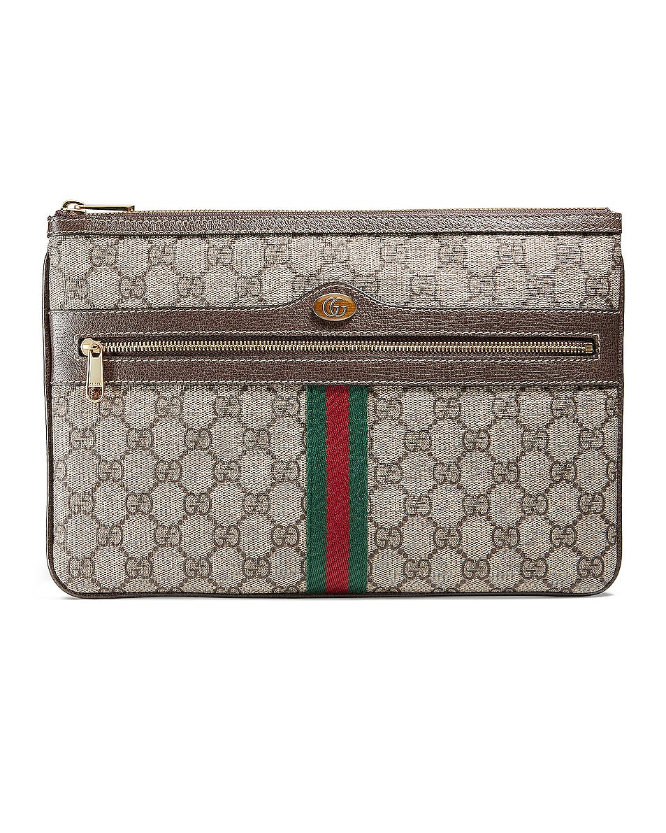 Image 1 of Gucci Canvas Pouch in Beige Ebony