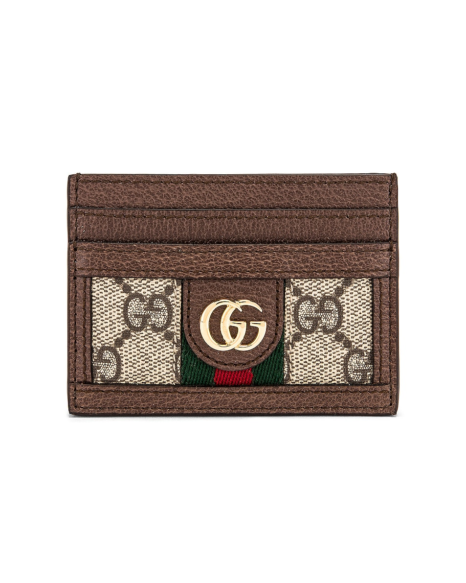 Image 1 of Gucci Ophidia GG Card Case in Beige Ebony
