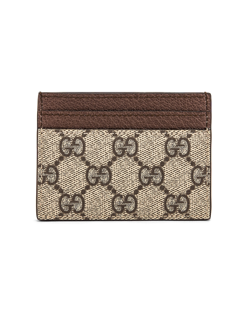 Image 2 of Gucci Canvas Card Case in Beige Ebony