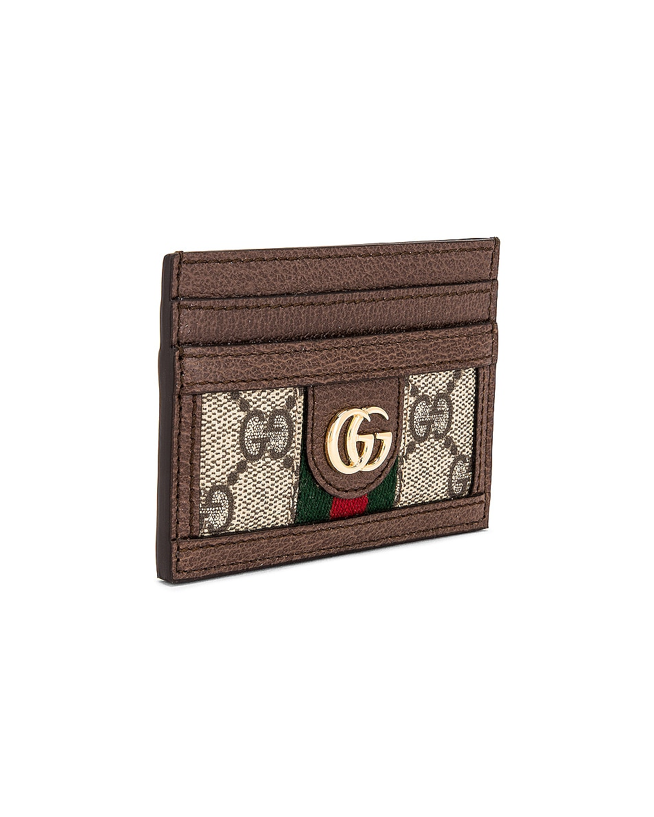 Image 3 of Gucci Ophidia GG Card Case in Beige Ebony