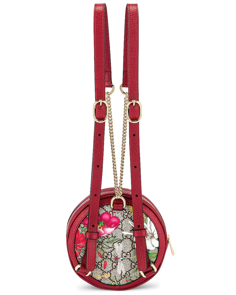 Image 3 of Gucci Ophidia Supreme GG Flora Round Chain Backpack in Beige Ebony & Red