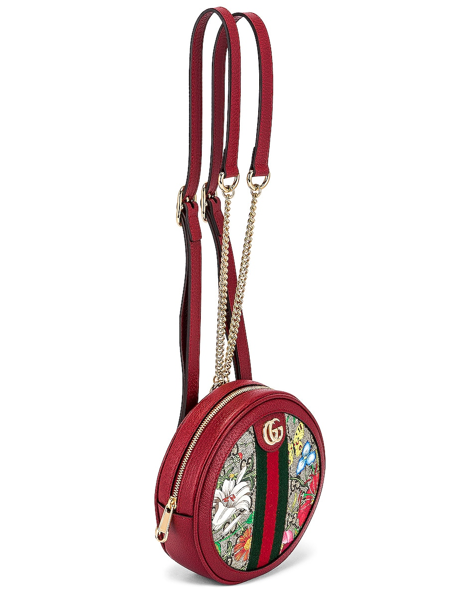 Image 4 of Gucci Ophidia Supreme GG Flora Round Chain Backpack in Beige Ebony & Red