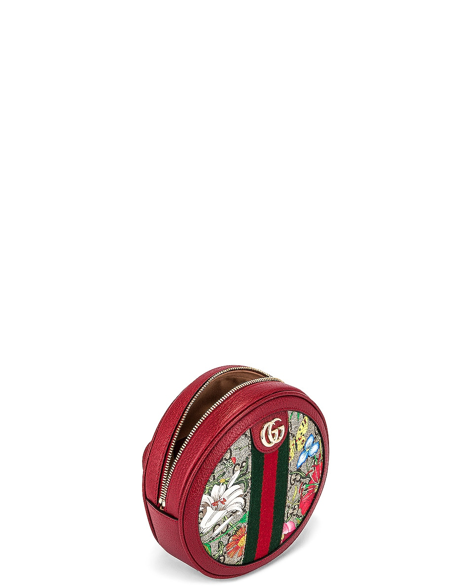 Image 5 of Gucci Ophidia Supreme GG Flora Round Chain Backpack in Beige Ebony & Red