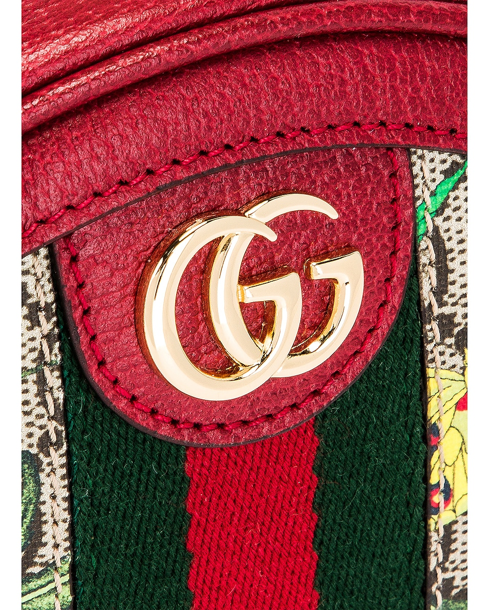 Image 7 of Gucci Ophidia Supreme GG Flora Round Chain Backpack in Beige Ebony & Red