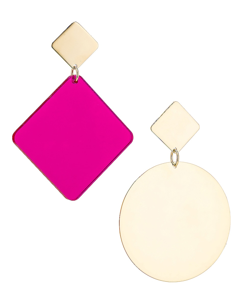 Image 1 of Isabel Marant Geometric Earrings in Fuchsia