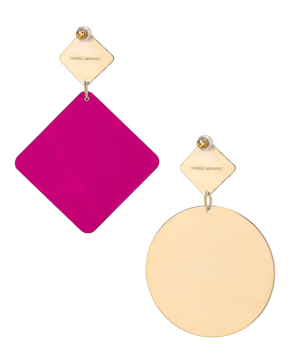 Image 4 of Isabel Marant Geometric Earrings in Fuchsia