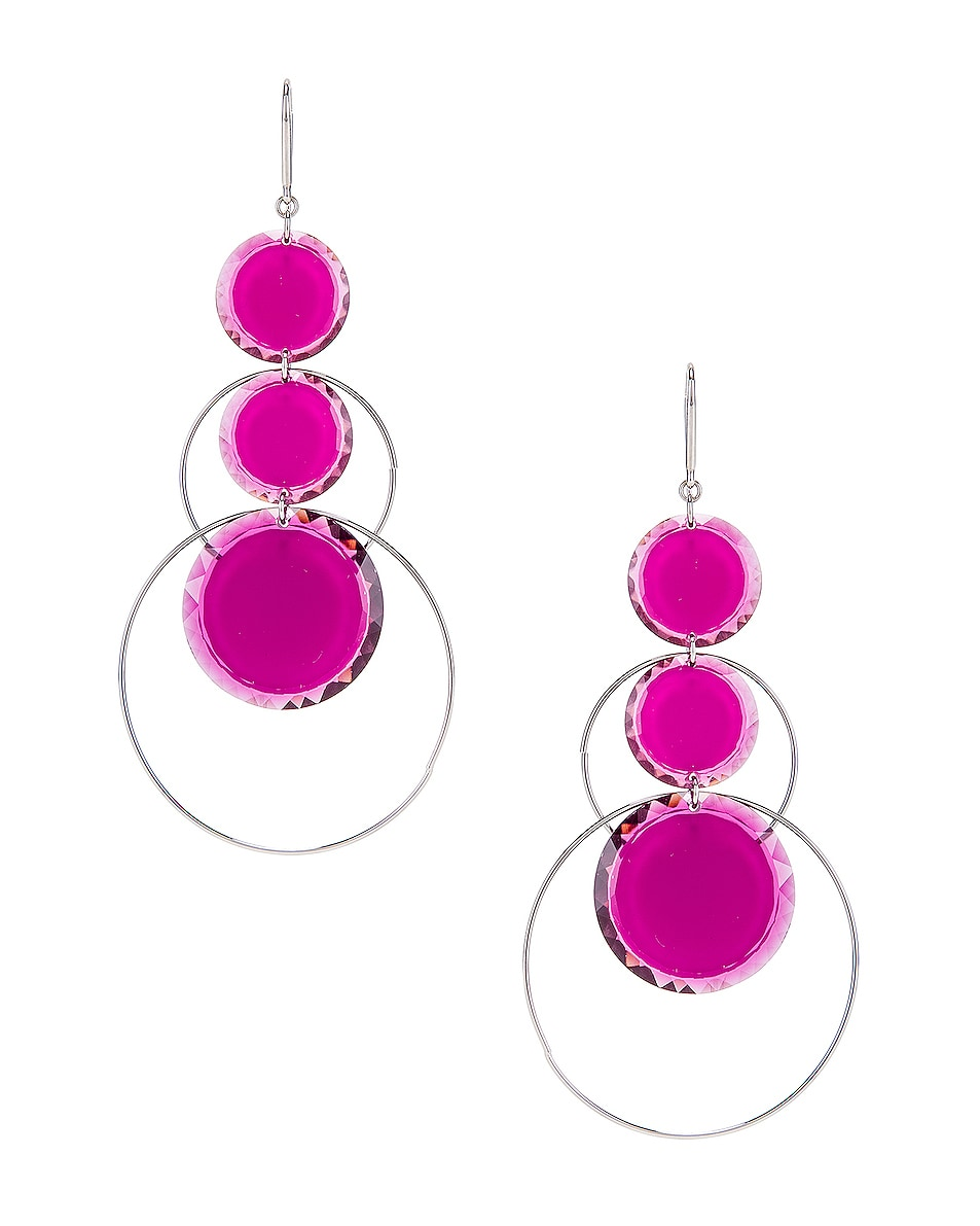 Image 1 of Isabel Marant Harlem Earrings in Fuchsia & Silver