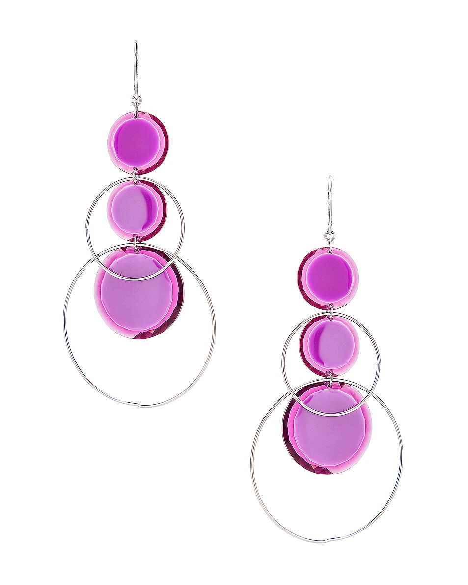 Image 4 of Isabel Marant Harlem Earrings in Fuchsia & Silver