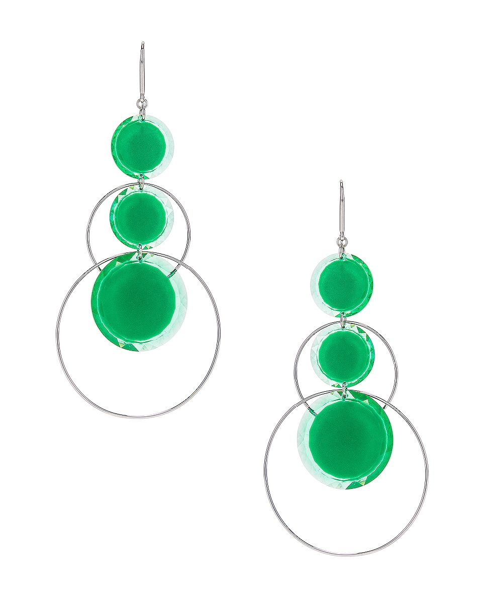 Image 1 of Isabel Marant Harlem Earrings in Green & Silver