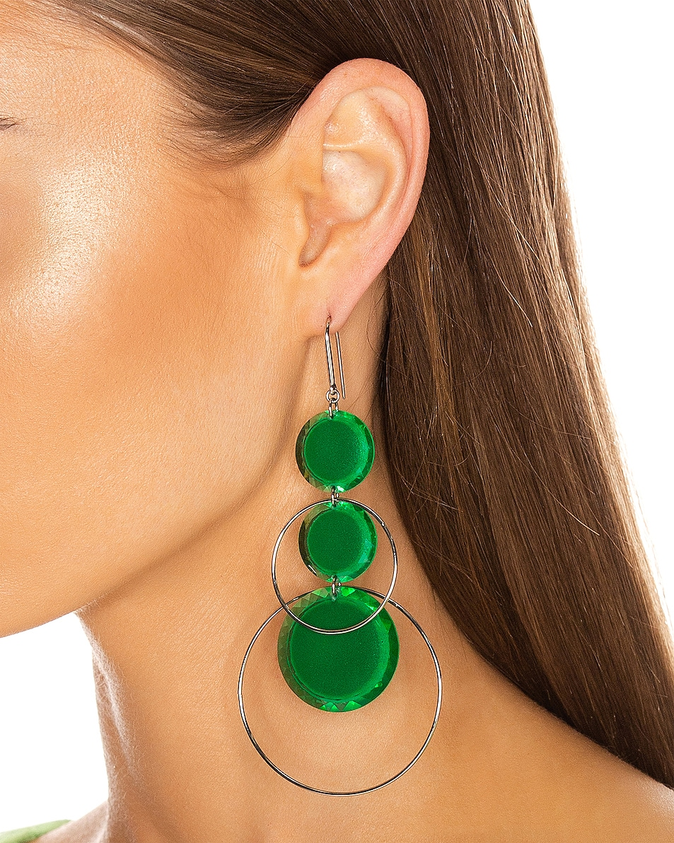 Image 2 of Isabel Marant Harlem Earrings in Green & Silver