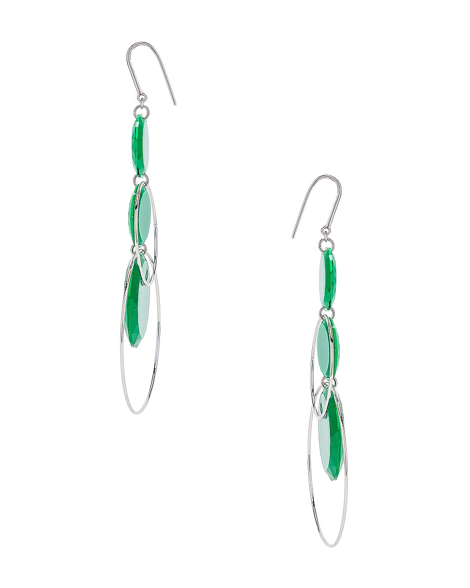 Image 3 of Isabel Marant Harlem Earrings in Green & Silver