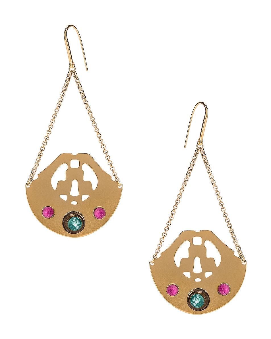 Image 1 of Isabel Marant Stone Chandelier Earrings in Fuchsia