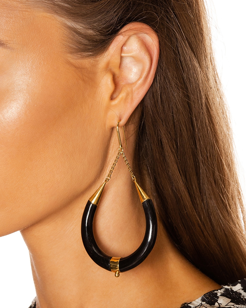 Image 2 of Isabel Marant Drop Hoop Earrings in Black