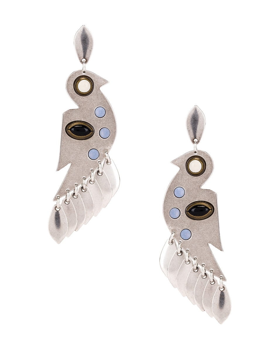 Image 1 of Isabel Marant Bird Stone Earrings in Blue & Silver