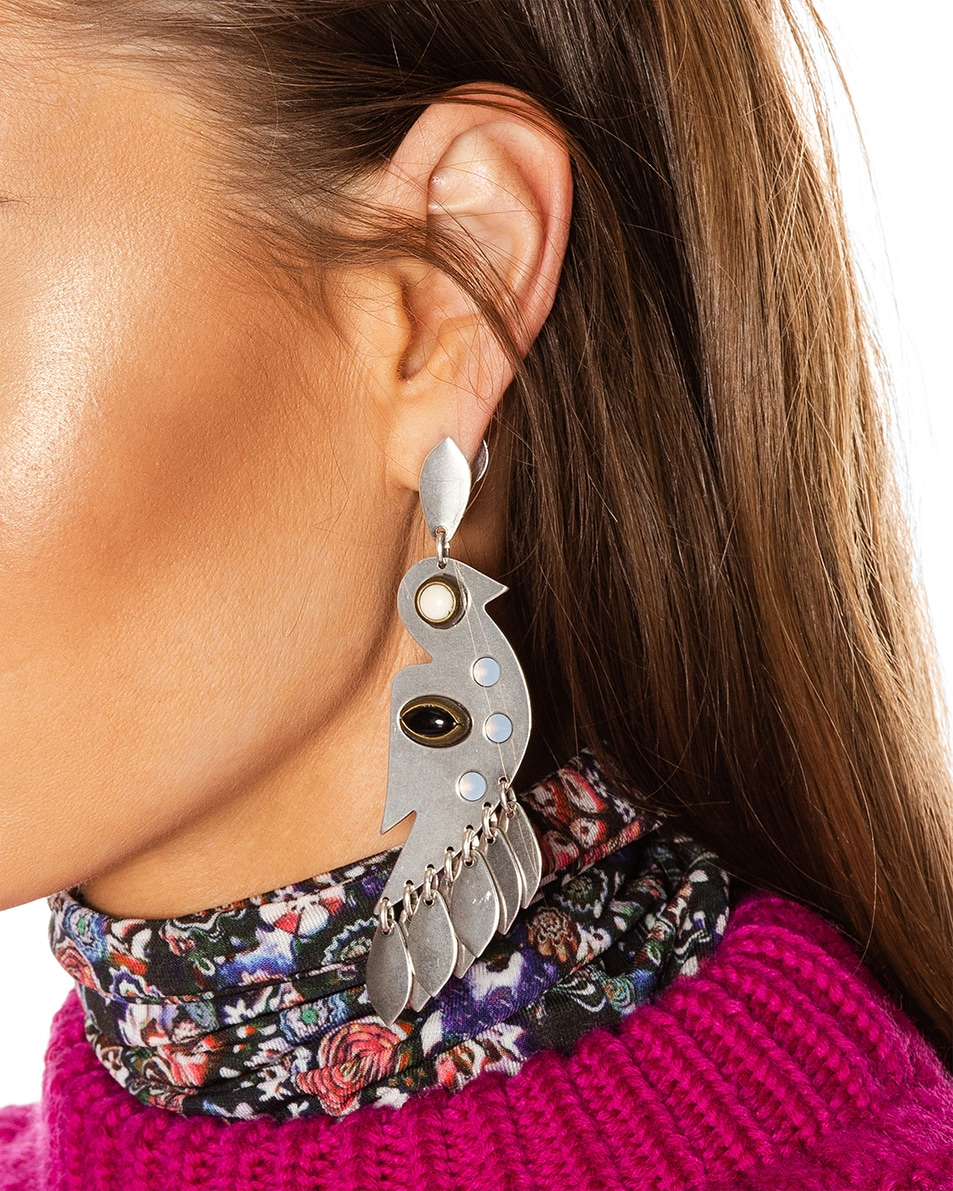 Image 2 of Isabel Marant Bird Stone Earrings in Blue & Silver