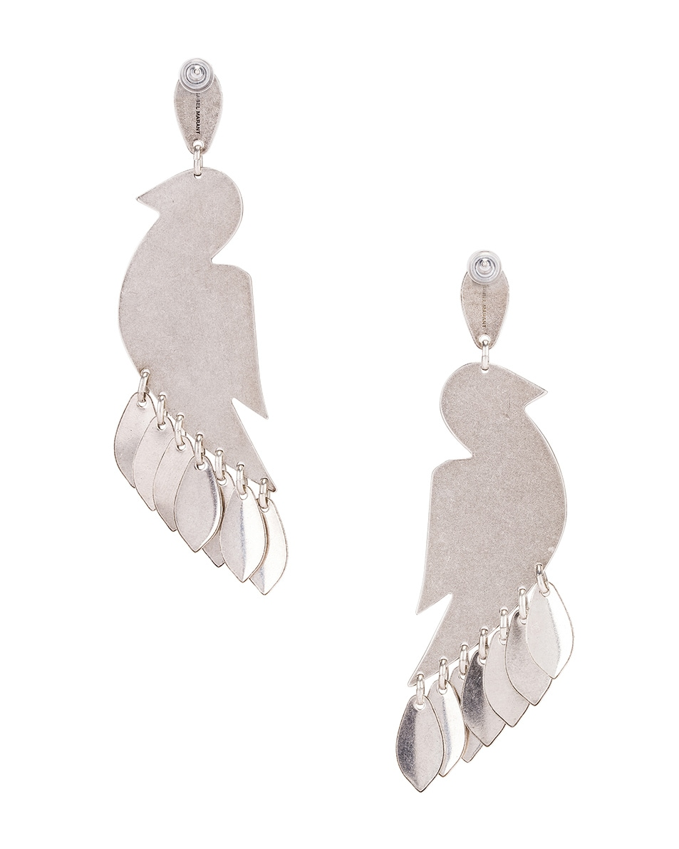 Image 4 of Isabel Marant Bird Stone Earrings in Blue & Silver