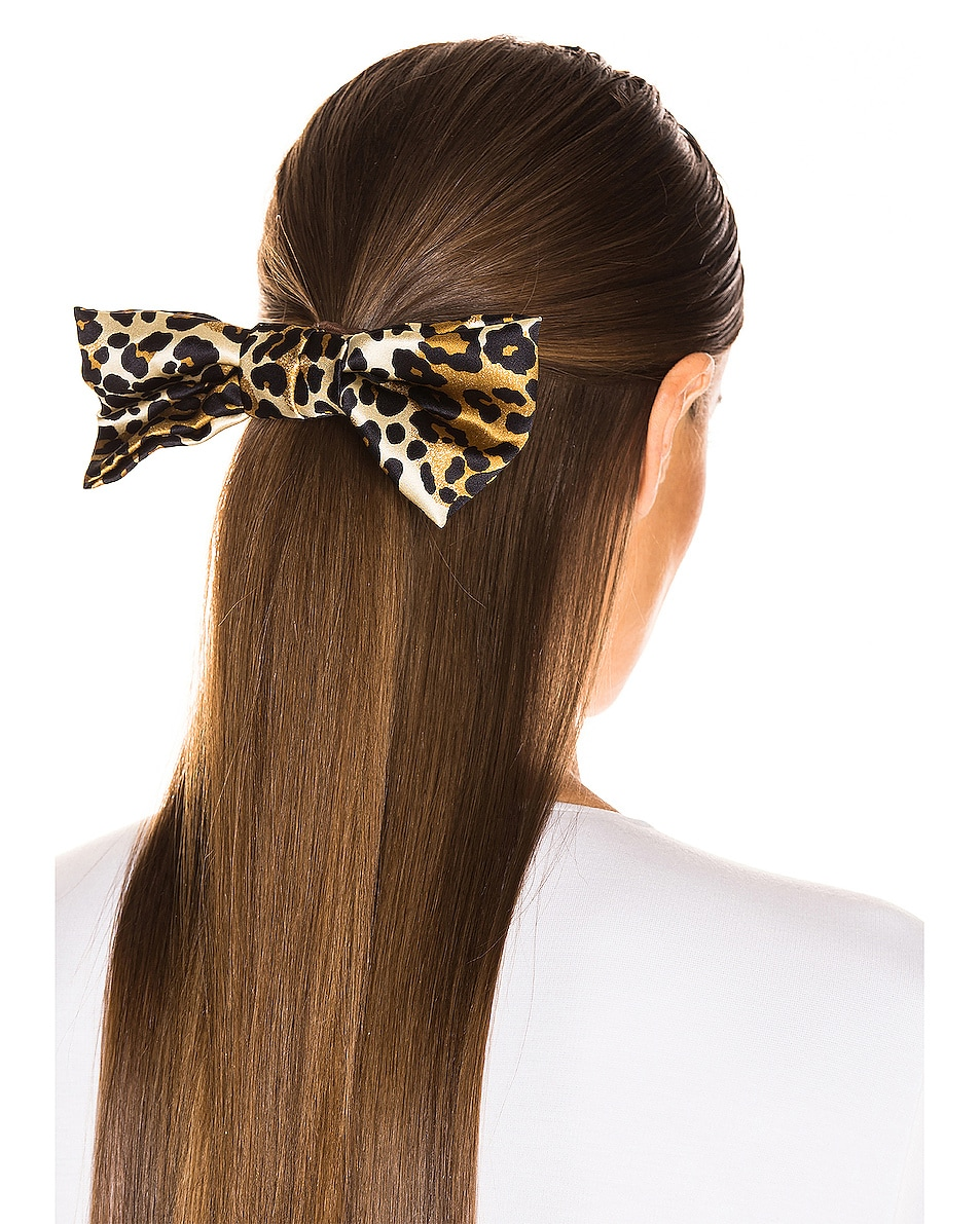 Image 3 of Jennifer Behr Bengal Bow Barrette in Leopard