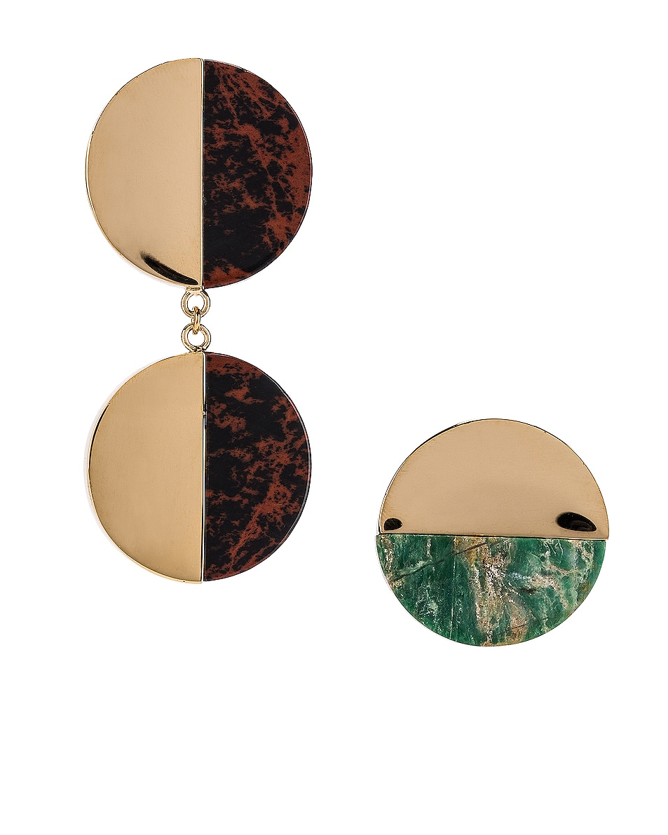 Image 1 of Jil Sander Twice Earrings in Open Green