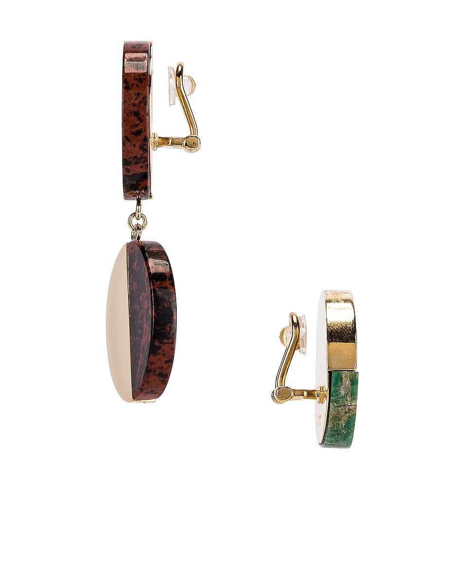 Image 3 of Jil Sander Twice Earrings in Open Green