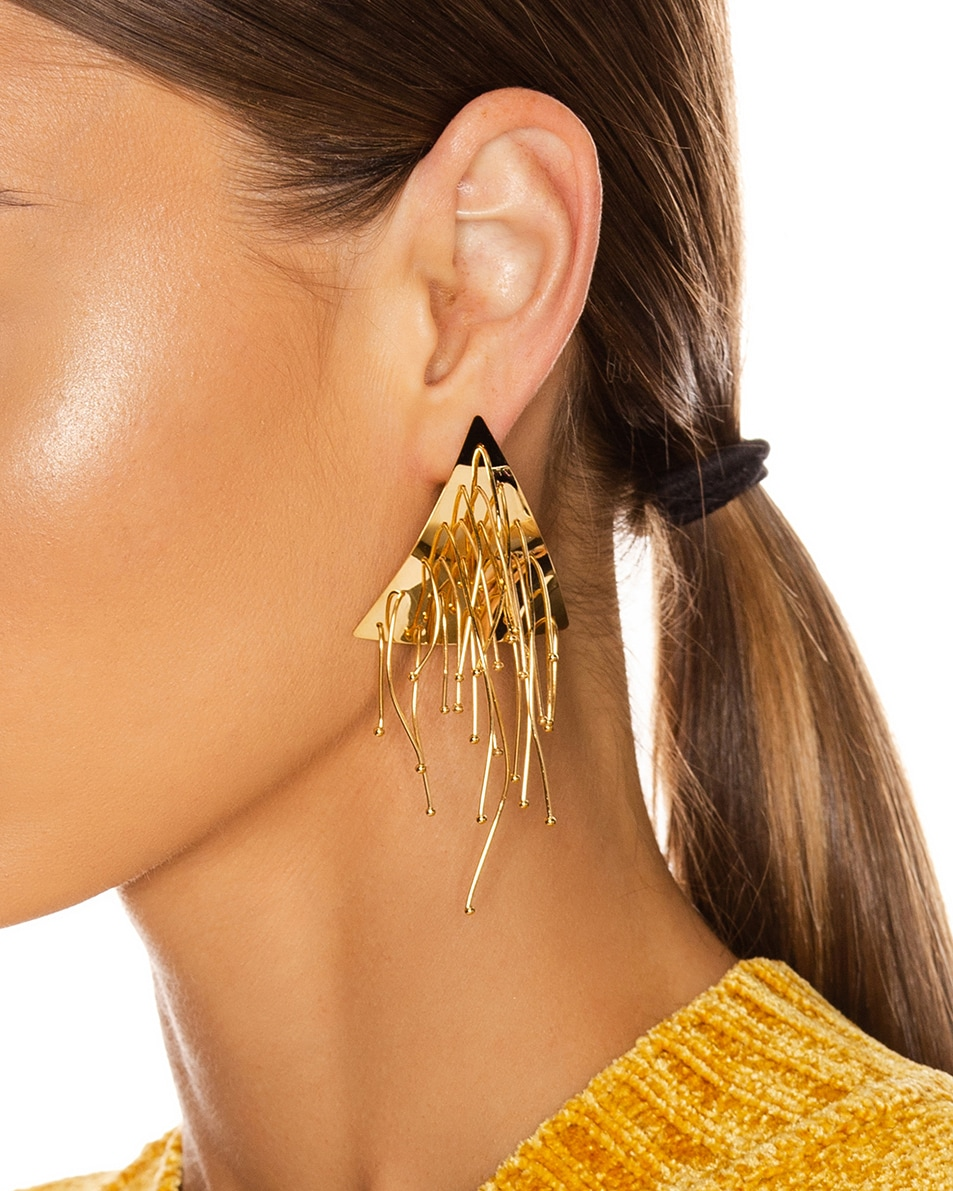 Image 2 of Jil Sander Multi Lines Earrings in Gold