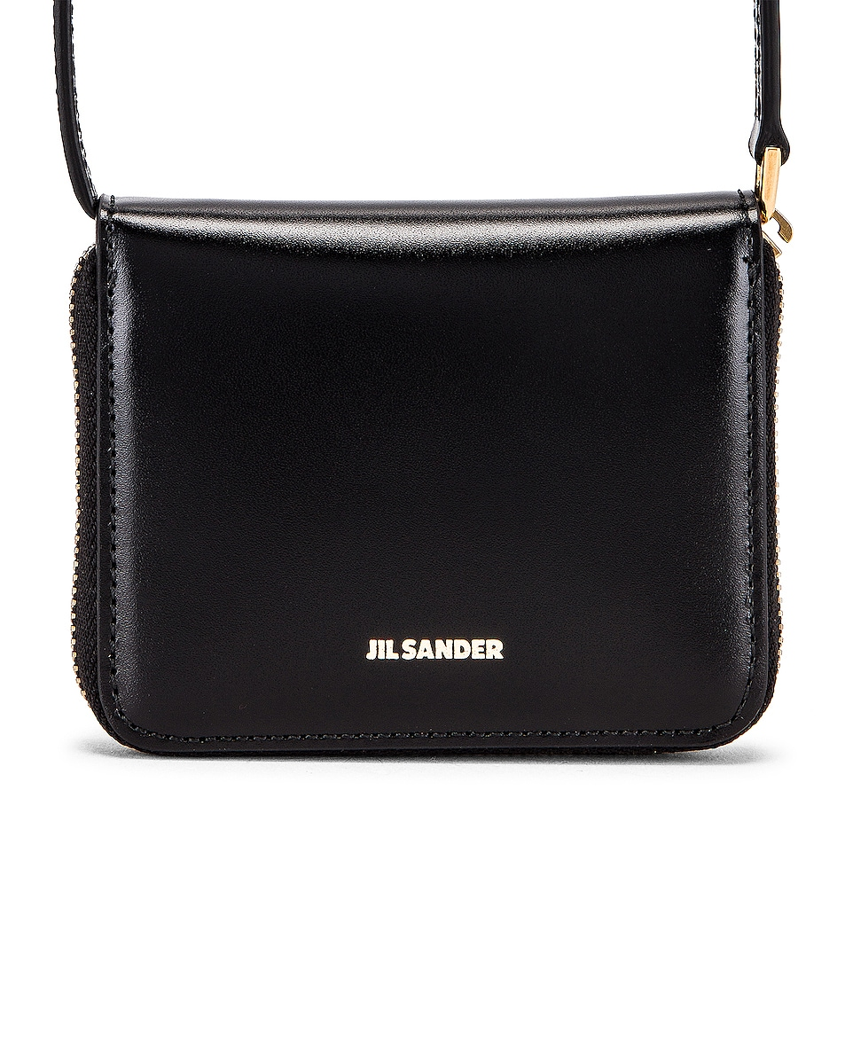 Image 1 of Jil Sander Hook Zip Wallet Crossbody Bag in Black