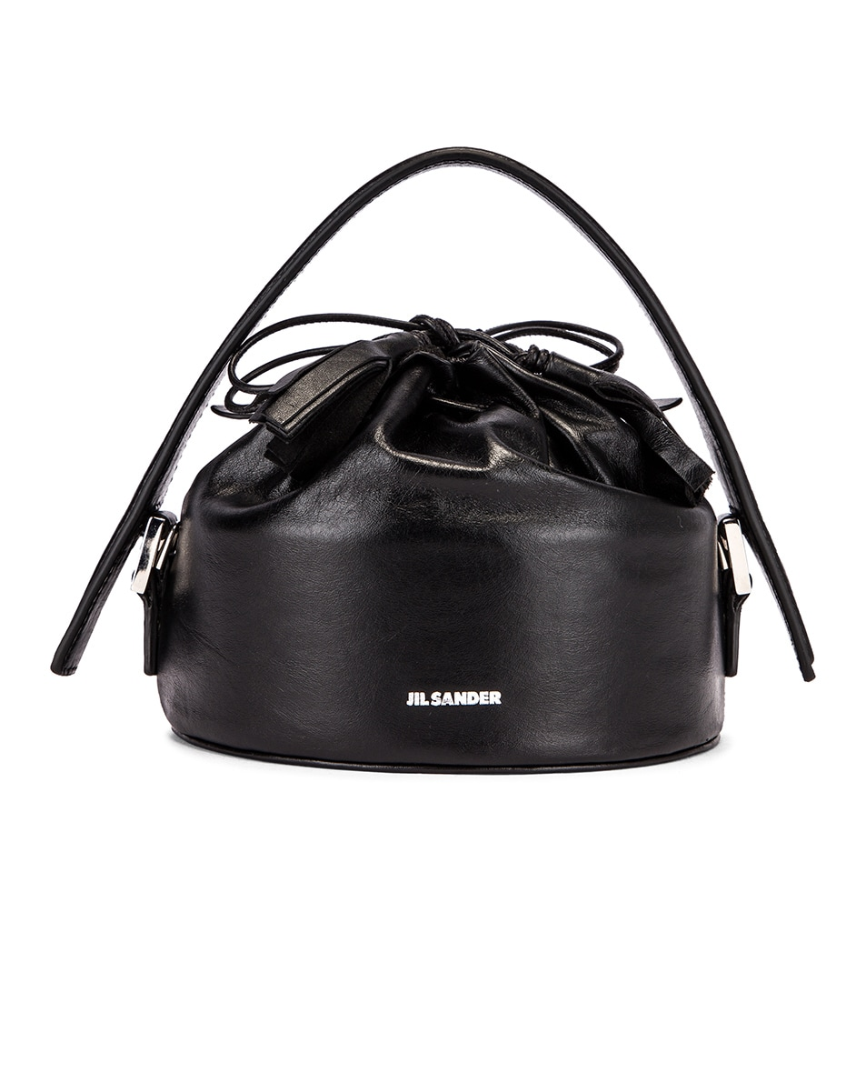 Image 1 of Jil Sander Small Drawstring Drum Bag in Black
