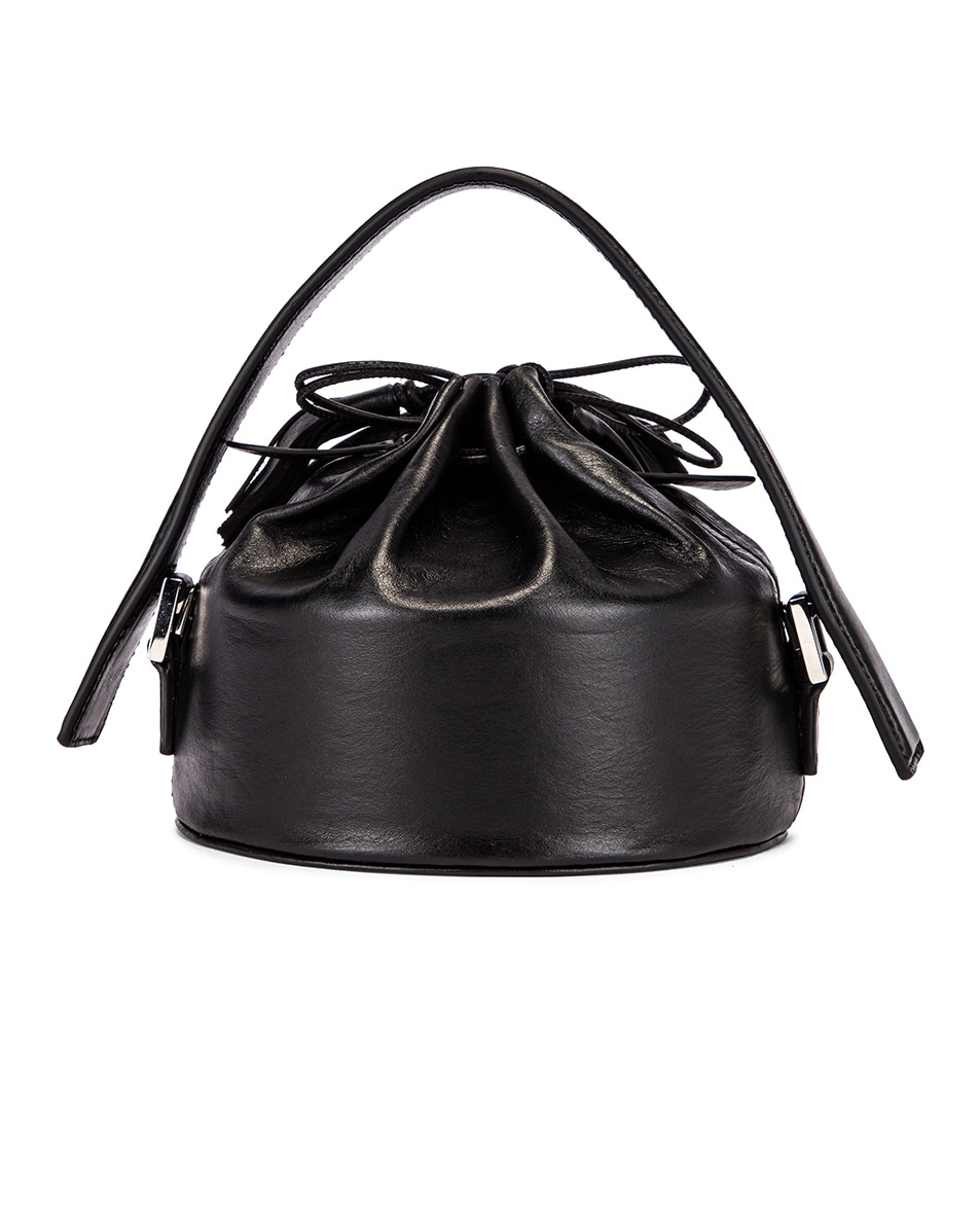Image 3 of Jil Sander Small Drawstring Drum Bag in Black