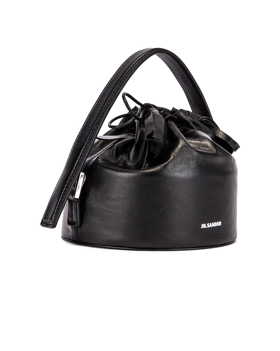 Image 4 of Jil Sander Small Drawstring Drum Bag in Black