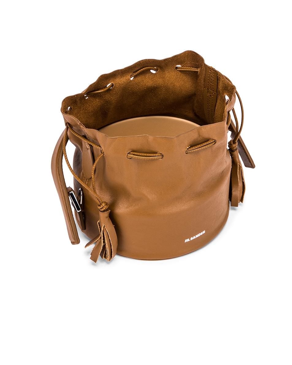 Image 5 of Jil Sander Small Drawstring Drum Bag in Tan