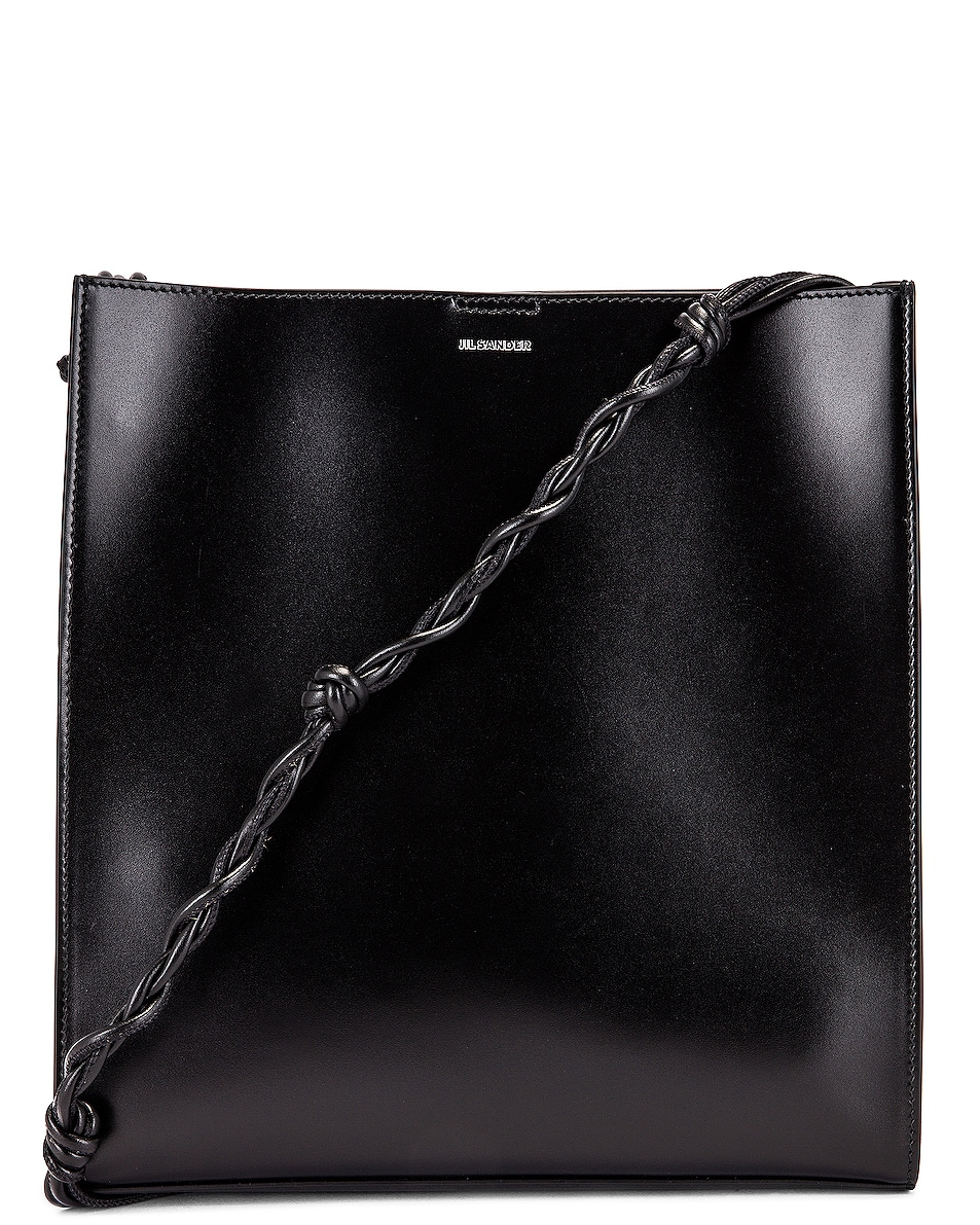 Image 1 of Jil Sander Medium Tangle Leather Crossbody Bag in Black