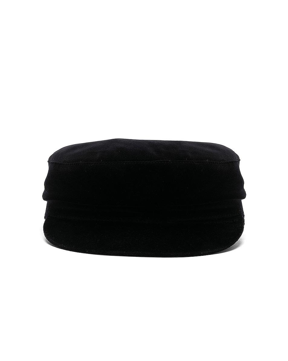 Image 1 of Janessa Leone Mattie Fisherman Velvet Cap in Black