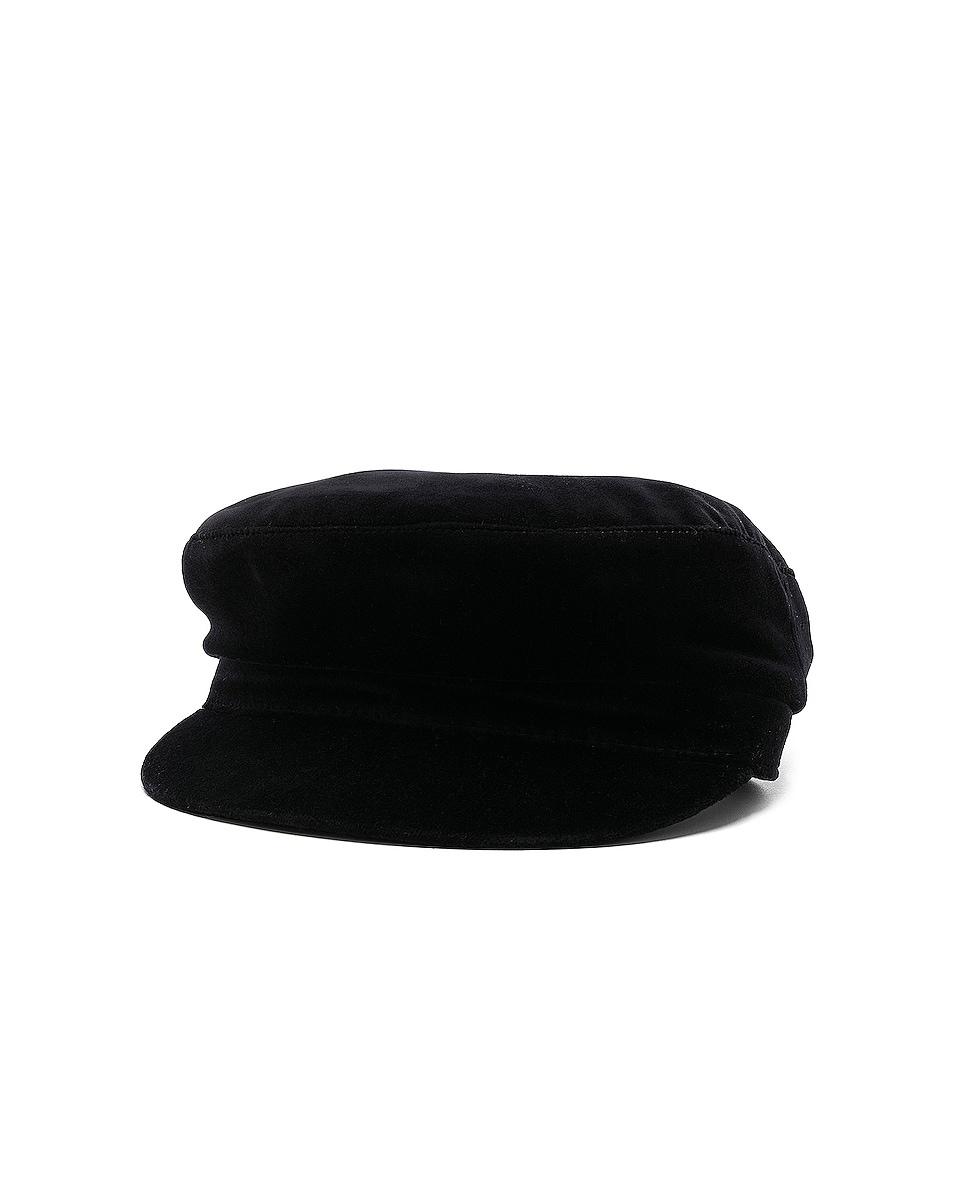 Image 2 of Janessa Leone Mattie Fisherman Velvet Cap in Black