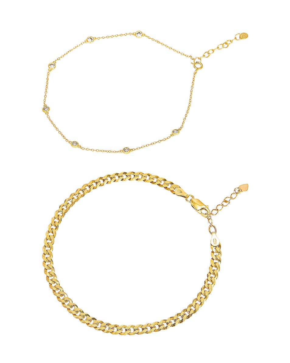 Image 1 of Jordan Road Jewelry for FWRD Endless Summer Anklet Stack in Gold