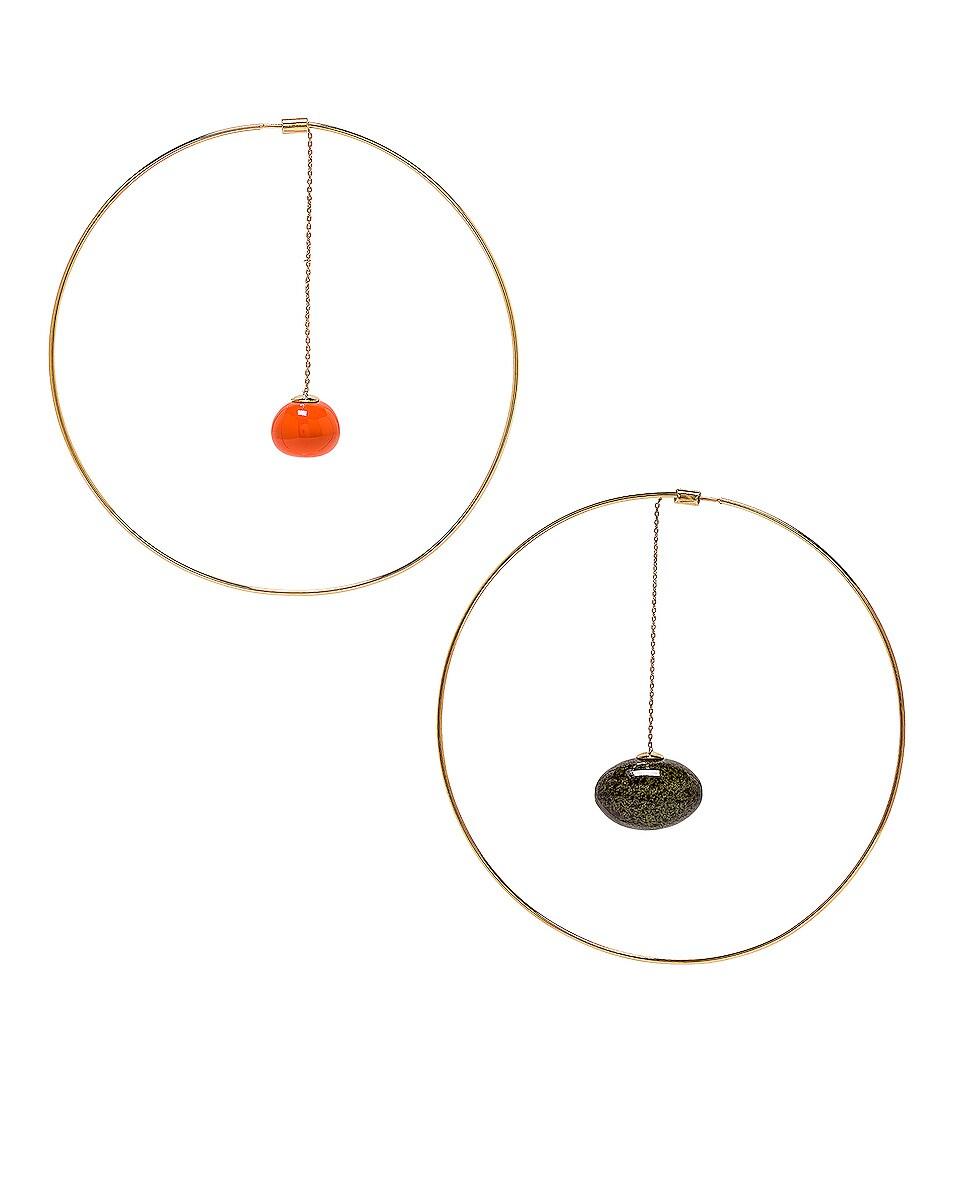 Image 1 of JACQUEMUS Orange Olive Earrings in Orange, Green & Gold