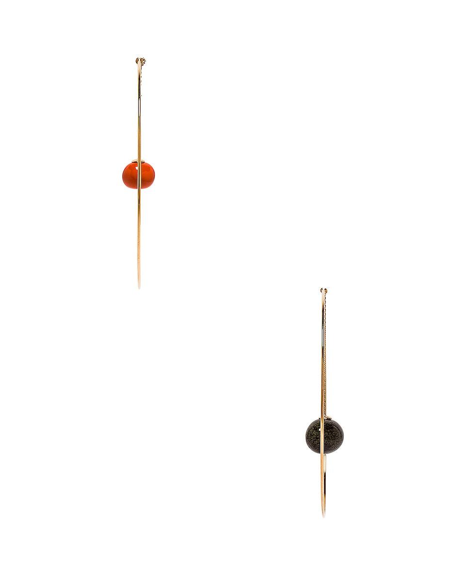 Image 3 of JACQUEMUS Orange Olive Earrings in Orange, Green & Gold