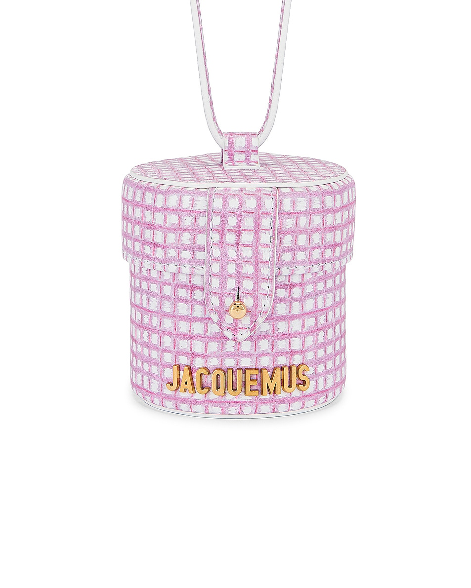 Image 1 of JACQUEMUS Le Vanity Bag in Print Pink Checked