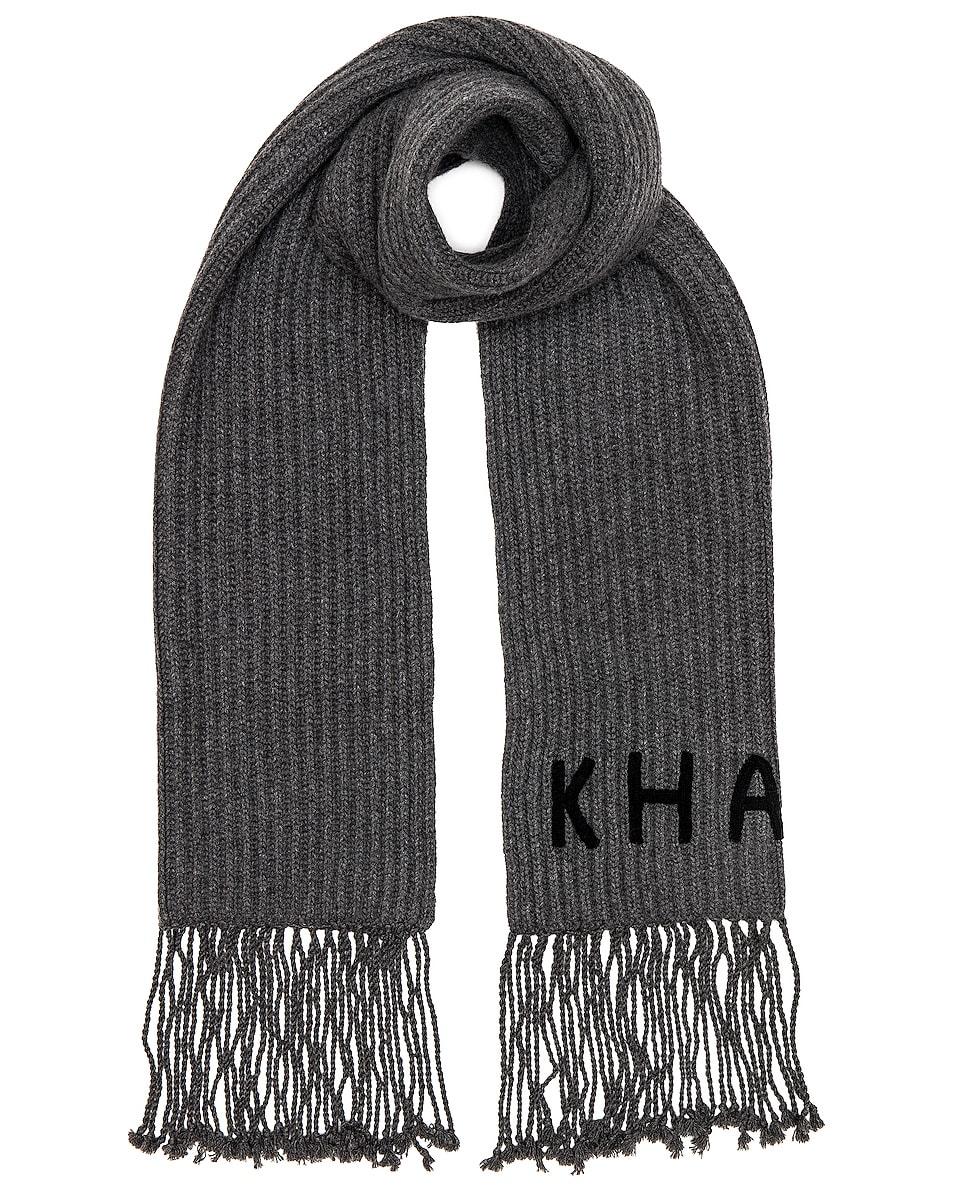 Image 1 of KHAITE Logo Fisherman Rib Scarf in Charcoal & Black