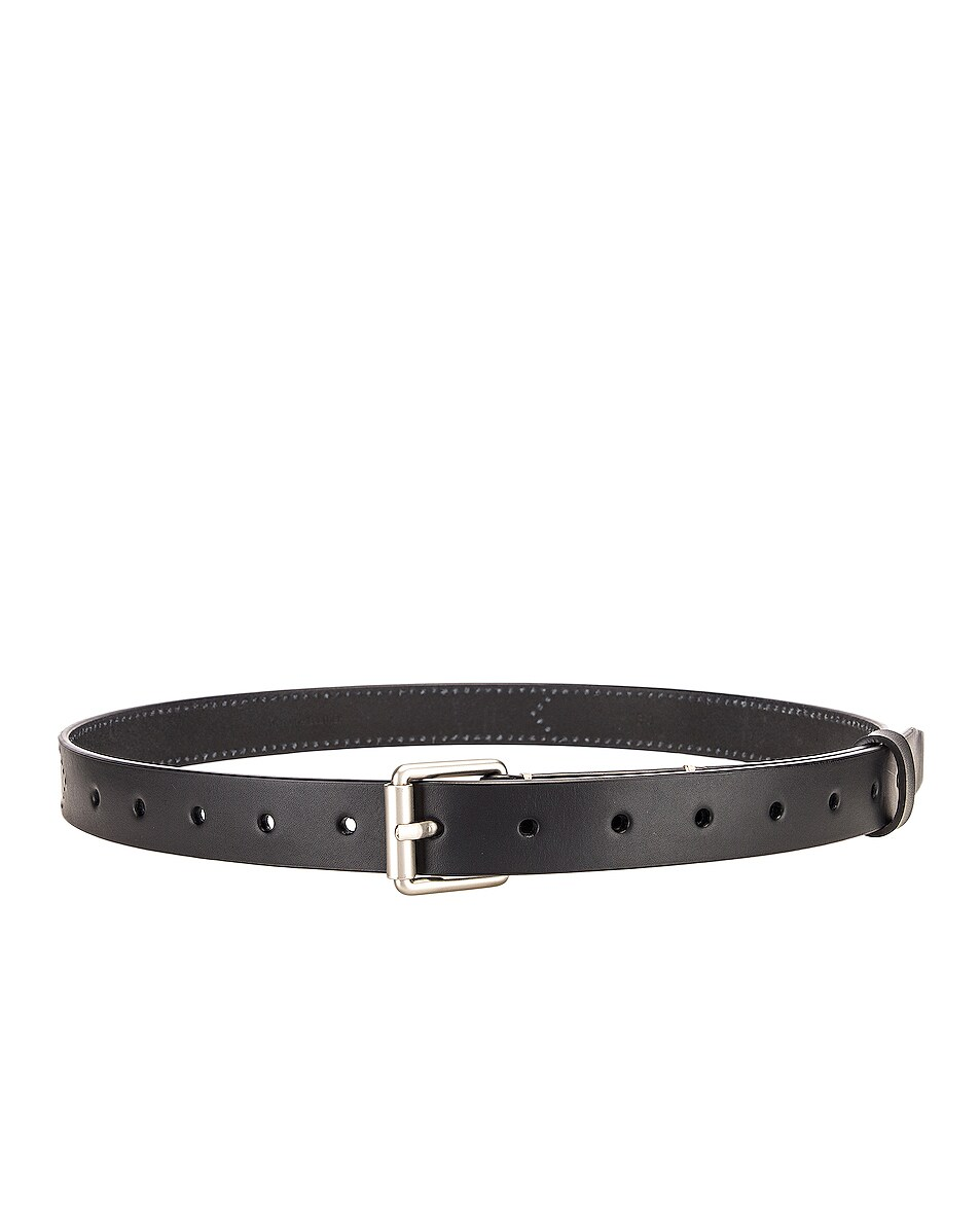 Image 2 of Lemaire Reversed Thin Belt in Black