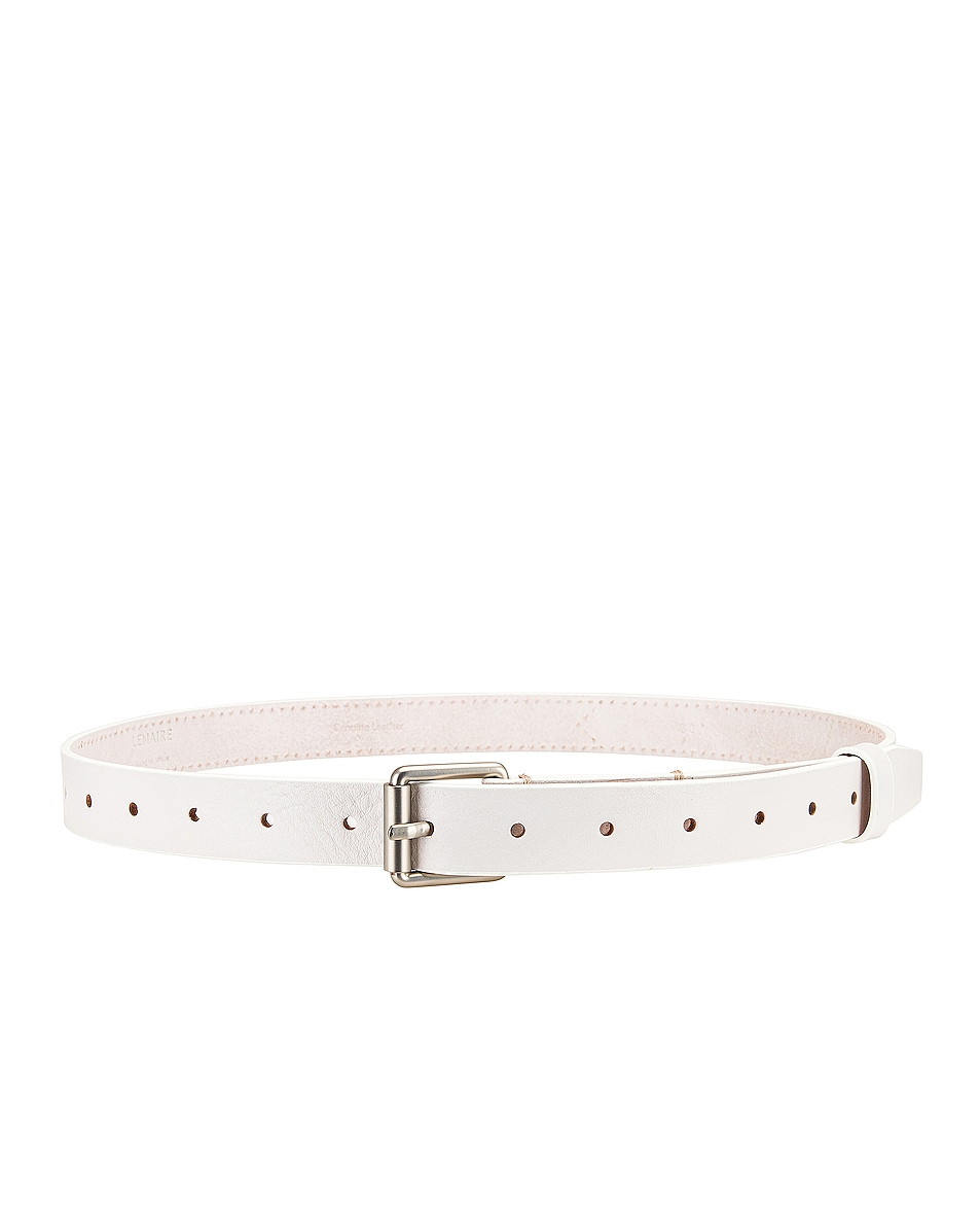 Image 2 of Lemaire Reversed Thin Belt in Off White